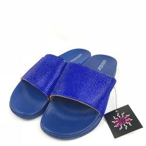 🆕 Olivia Miller Fashion Pool Slides Sandals Blue